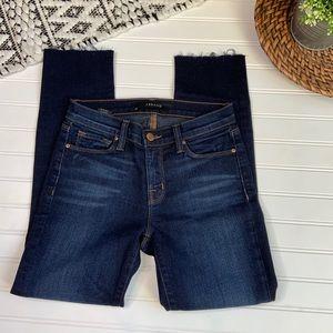JBRAND Dark Wash Raw Hem Skinny Porter Jeans